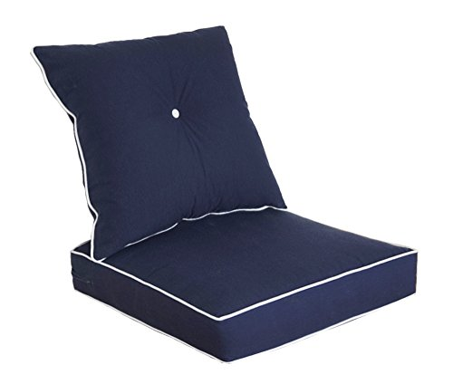 Chocolate Upholstered Bench - Bossima Cushions for Patio Furniture, Outdoor Water Repellent Fabric, Deep Seat Pillow and High Back Design, Navy Blue