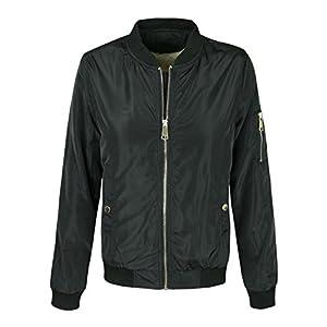 makeitmint Women's Stylish Zip Up Patch Bomber Jacket w/ Zipper Pocket [S-3XL] MEDIUM YJZ0022_44BLACK