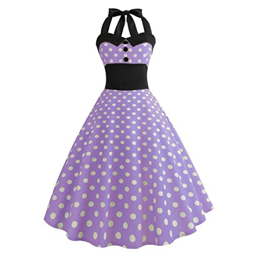 Women Dress Daoroka Sexy Vintage Halter Polka Dot Print Bodycon Sleeveless Casual Prom Swing Dress Hot Sale Summer A Line Pleated Evening Party Sundress (M, Purple)