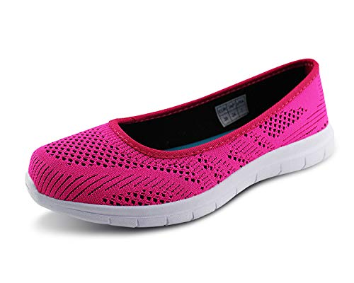 Jabasic Women Slip On Loafers Breathable Knit Flat Walking Shoes (Fuchsia,9.5)