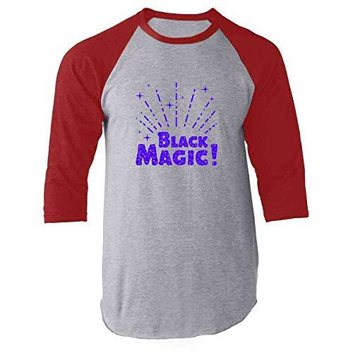 Black Magic! Retro Witchcraft Halloween Red XL Raglan Baseball Tee Shirt ()