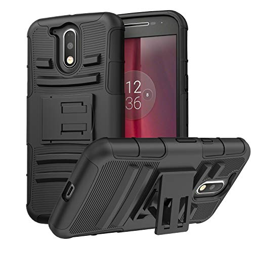 Moto G4 / G4 Plus Case, MoKo Shock Absorbing Hard Cover Ultra Protective Heavy Duty Case with Holster Belt Clip + Built-in Kickstand for Motorola Moto G 4th Generation / G4 Plus 5.5 Inch - Black