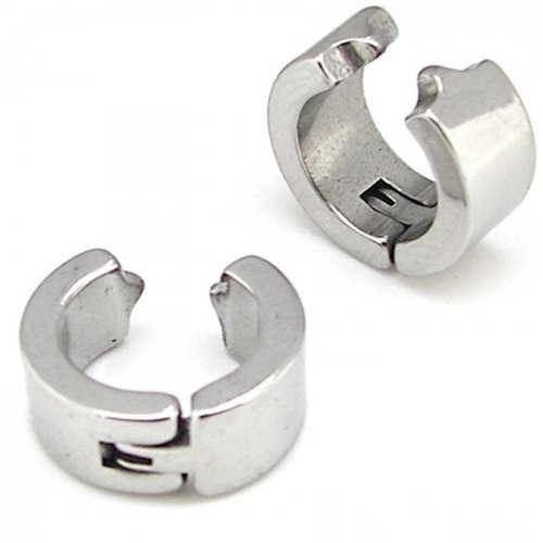 2 Thick Snap Creoles Huggies Hoop Fake Earrings without Earhole Coulour: Silver Woman Man