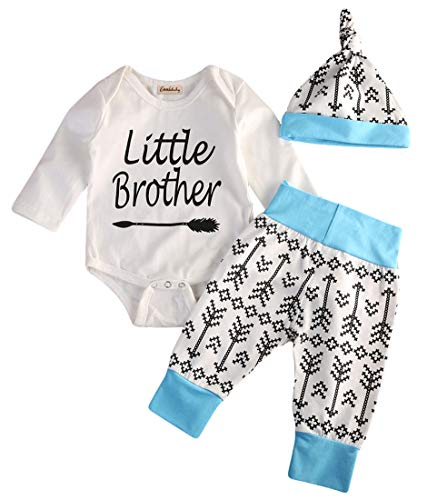 Emmababy Baby Boys Girls Bodysuit Romper Christmas Halloween Outfit and Pants Little Brother Winter Clothing (0-3M, Little Brother)