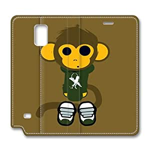 Brain114 Fashion Style Case Design Flip Folio PU Leather Cover Standup Cover Case with Cute Monkey Pattern Skin for Samsung Galaxy Note 4