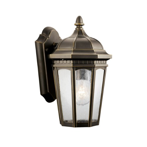 Kichler Lighting 9032RZ Courtyard 1 Light Incandescent Outdoor Wall Mount  Lantern, Rubbed Bronze With Clear Seedy Glass