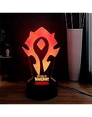 Wow 3D visuell bordslampa World of Warcraft The Horde logo RGB 7 färgglada USB mini lampa LED sängbord sömn nattlampa semesterlampa