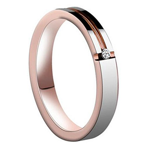5mm S11 Wedding Bands Rings - WASOENMY 4/6MM Tungsten Steel Rose Gold Diamond High Polished For Mens Women Engagement Wedding Band 4MM S11