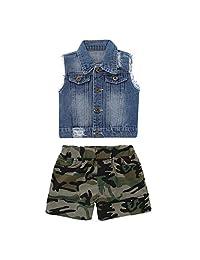 Toddler Kid Baby Boys Denim Vest Sleeveless Coat+Camo Shorts Summer Cool Outfits (Color : Denim Blue, Size : 2-3T)