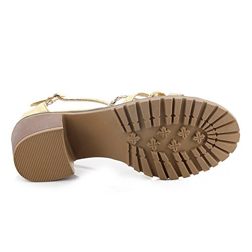 Gold Solid Sandals Buckle Heels Kitten Material Soft AgooLar Open Toe Women's xgwgWRv