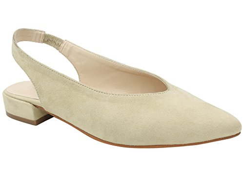 Maxmuxun Womens Sexy Pointed Closed Toe Comfortable Beige Slingback Pumps Size 10