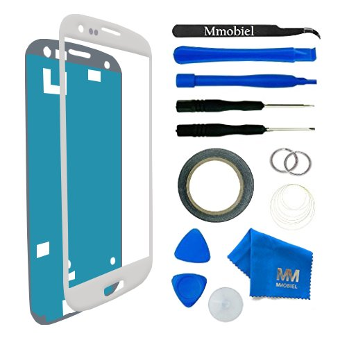 MMOBIEL Front Glass for Samsung Galaxy S3 i9300 Series (White) Display Touchscreen incl 12 pcs Tool Kit / Pre-cut Sticker / Tweezers/ Roll of Adhesive Tape / Suction Cup / Metal Wire / cleaning cloth (Samsung Lcd S3 Display Galaxy)