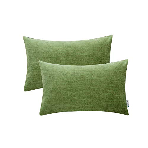 HWY 50 Cotton Linen Soft Comfortable Natural Soild Decorative Rectangle Throw Pillow Covers Sets Cushion Case for Couch Sofa Bed Living Room Green Pillowcases 12 x 20 Inches Pack of 2 (Pillows Lime Bed Green)