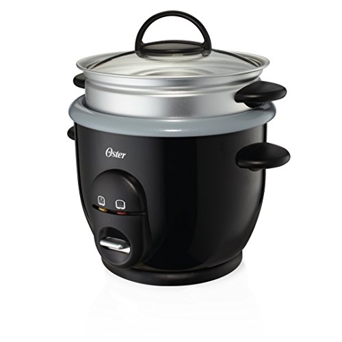 Oster Ckstrc61k Teco Titanium Infused 6 Cup Rice   Grain Cooker With Steam Tray  Medium One Size  Silver Black