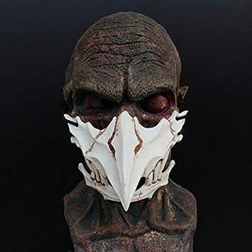 Japanese Halloween Mask,Japanese Tiangou Cosplay Mask - Resin Mask Half Face White Skull Scary Mask,Cosplay Decorative Mask Costume Halloween Novelty ...