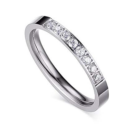 3MM Women's Silver Halo White Cz Stainless Steel Engagement Band Ring Size 5-8