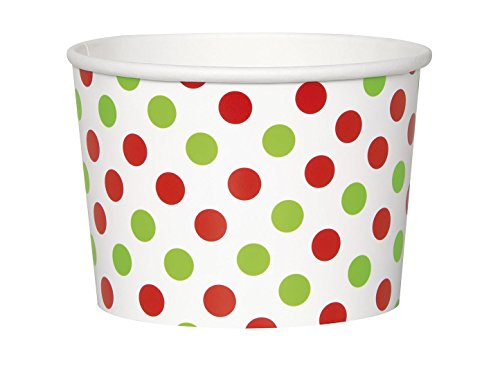 Red and Green Polka Dot Holiday Paper Ice Cream Cups, 8ct (Ice Cream Disposable Cups compare prices)