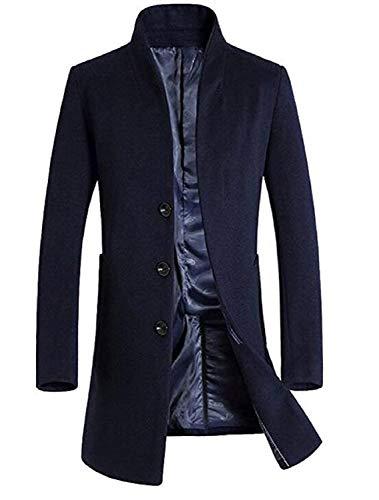 De Hombres Negocios Lana Invierno Collar Chaquetas Joven Fit Stand Los Abrigo Rompevientos Blau Slim Sleeve Long Outwear Rwqwg
