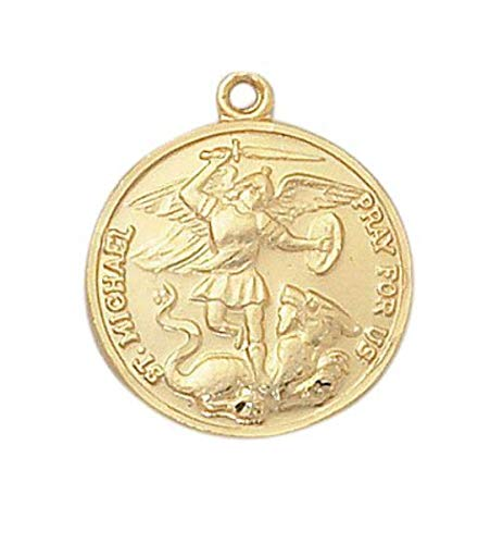 Creed Saint Michael 22Kt Gold Over Sterling Silver 13/16-inch Round Medal Pendant ()