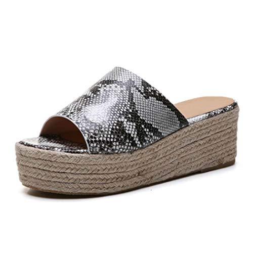 Women Platform Slides Sandals High Heel Slip on Peep Toe Faux Leather Summer Fashion Wedge Slippers (Snakeskin pattern,38 EU=7.5 M US)