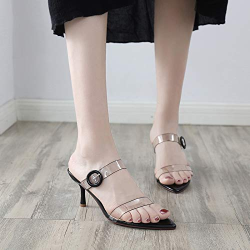 High Heels White Cold KPHY Heels Sharp And Summer Towing Toes 8Cm Buckles Transparent Pointed Slippers Night 1Z1wF5Ex
