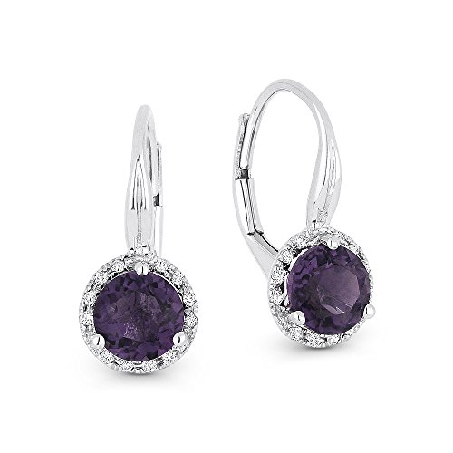 Created-Alexandrite Gemstone & Accented Diamond Dangle-Earring Set In 14K White-Gold by Eros' Iced Showroom