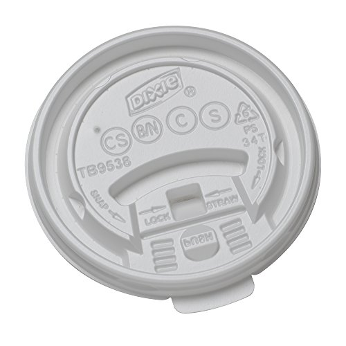Dixie TB9538X Tear Back Lid for 8 oz PerfecTouch and Paper Hot Cups, White (Case of 10 Packs, 100 Lid per Pack)