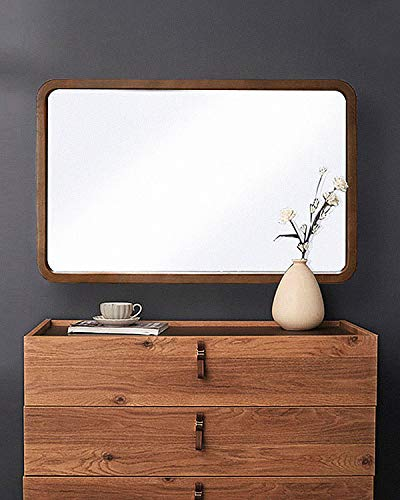 "TinyTimes 22""×35"" Large Wall Mirror, Rectangular Wood Framed Mirror, Rounded Corner, Home Decor, Hangs Horizontal or Vertical, for Vanity, Entryways, Bathroom, Bedroom Dresser Mirror-Brown - ★【SOPHISTICATED DESIGN】 22""×35"" Rounded corner rectangular wooden mirror. Perfect size for dressing table, bathroom, living room, entrance, etc. With a chamfering process, the perfect curve makes the frame look elegant. ★【EXCELLENT QUALITY】 The width of the frame: 1.57"", thickness: 0.8"", weight: 14.5 lbs. The glass thickness is 0.2"" (5mm), HD reflection effect. A full piece of premium MDF sheet is used on the back. The foot nail to keep the mirror balanced. ★【SIMPLE INSTALLATION】 The 4 attached D-ring hangers allow for horizontal or vertical installation and easy hanging. When hanging the wall, you only need to use screws and drywall anchors . - mirrors-bedroom-decor, bedroom-decor, bedroom - 41CcXH9krWL -"