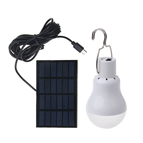 Fang Sky Solar Panel Powered LED Light Bulb Portable 15W 110lm Lamp Outdoor Hiking Camping