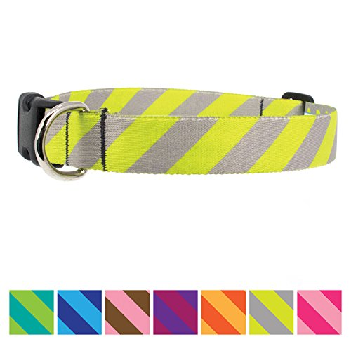 Pewter Bright Parts - Buttonsmith Pewter Stripes Dog Collar - Fadeproof Permanently Bonded Printing, Military Grade Rustproof Buckle, Resistant to Odors & Mildew, Choice of 5 Sizes, Made in The USA