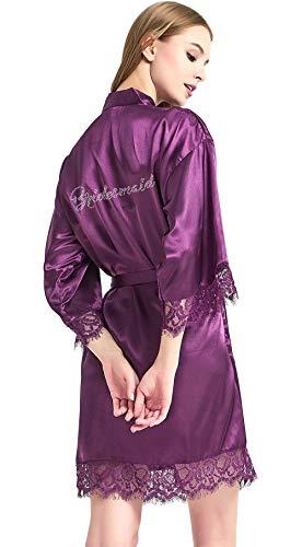 WPFING Bridesmaid Robes Purple Lace Bridal Party Robes Rhinestone Satin(Bridesmaid Purple Lace,XXL)