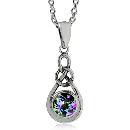 Mystic Fire Topaz 925 Sterling Silver Celtic Knot Drop Pendant w/ 18 Inch Chain Necklace