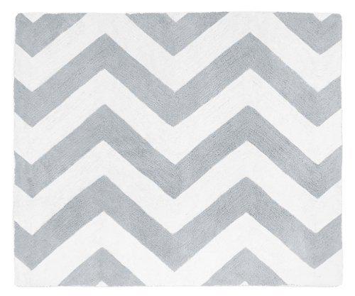 Gray and White Chevron Zig Zag Accent Floor Rug