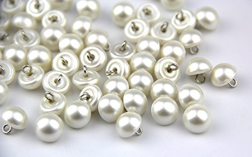 RayLineDo Pack of 200pcs 10mm White Pearl Bead Cap Half Ball Dome Metal Circle Hook Buttons for Crafting Sewing Scarpbooking Scarf and Clothes