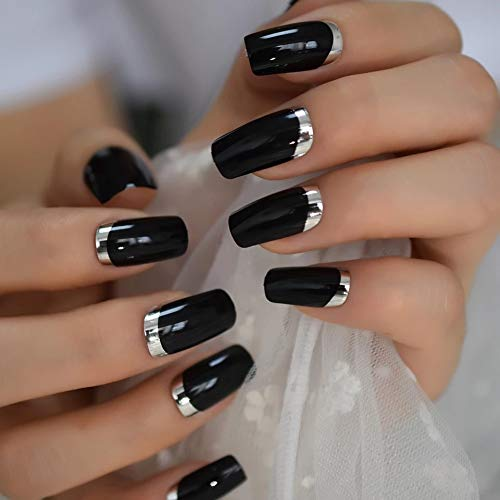 EDA LUXURY BEAUTY BLACK SILVER CHROME FRENCH GLAMOROUS DESIGN Full Cover Press On Gel Glitter Artificial Nail Tips Shiny Acrylic False Nails Extra Long Ballerina Coffin Square Super Fashion Fake Nails