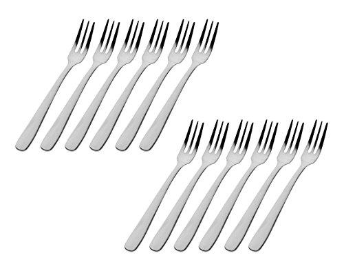 Godinger Silver Art Atol Set of 12 High Luster 18/0 Stainless Steel Appetizer Forks With Brushed Handles by Godinger
