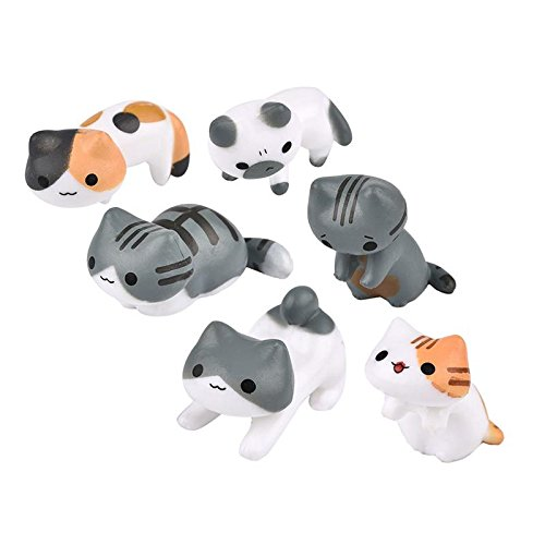 Neko 6pcs Miniature Home Fairy Garden Cats - Micro Kitty Landscape Ornament Decorations – Cute Lucky Cat DIY Figures for Crafts and Home Decor (Kitty Cat Figurine)
