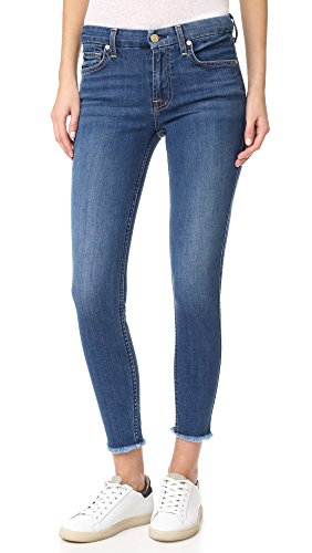 7 For All Mankind Women's b(air) Ankle Skinny Jeans with Raw Hem, New Luxe, (Seven For All Mankind Lightweight Jeans)
