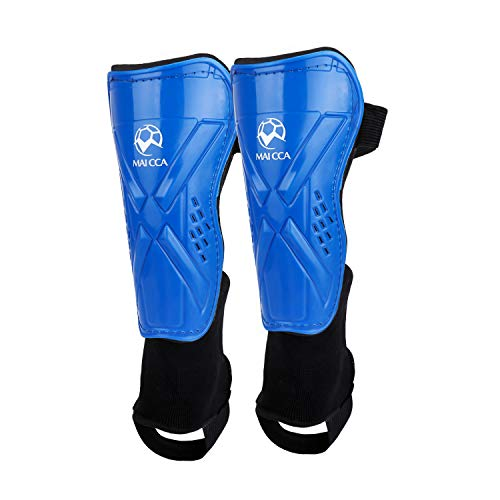 (OUTFANDIA Soccer Shin Guards, Plastic Shin Pads with Ankle Sleeve, Lightweight and Breathable Cleat for Child Calf, Protective Gear for 5-12 Years Old Children Boys Girls (Blue))