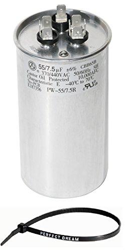 PowerWell 55+7.5 uf MFD 370 or 440 Volt Dual Run Round Capacitor Bundle TP-CAP-55/7.5/440R Condenser Straight Cool/Heat Pump Air Conditioner and Zip Tie by PowerWell