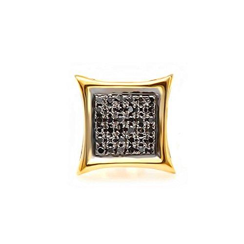 0.08 Carat (ctw) 10K Yellow Gold Round Black Diamond Micro Pave Kite Shape Stud Earring (1pc)