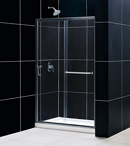 DreamLine Infinity-Z 36 in. D x 48 in. W Kit, with Sliding Shower Door in Chrome and Center Drain White Acrylic Base (Units 48 Glass)
