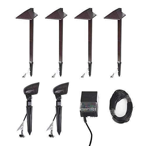 - Malibu Equinox 6 PACK LED Light Kit LED Low Voltage Landscape Lighting (Pathway Light&Spotlight&Power pack&Cable wire)