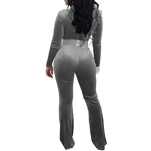 550302a182b Wancy Women s Velvet Long Sleeve Deep V Neck Wide Leg Bodycon Jumpsuits  Rompers Clubwear Plus Size