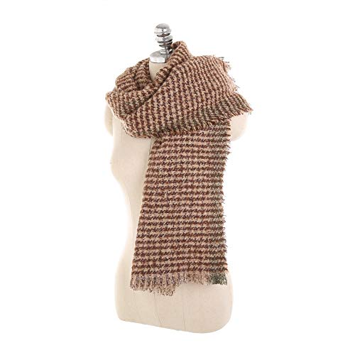 XueXian Women's Houndstooth Manmade Wool Fringed Cold Weather Wrap Scarf (wine) ()