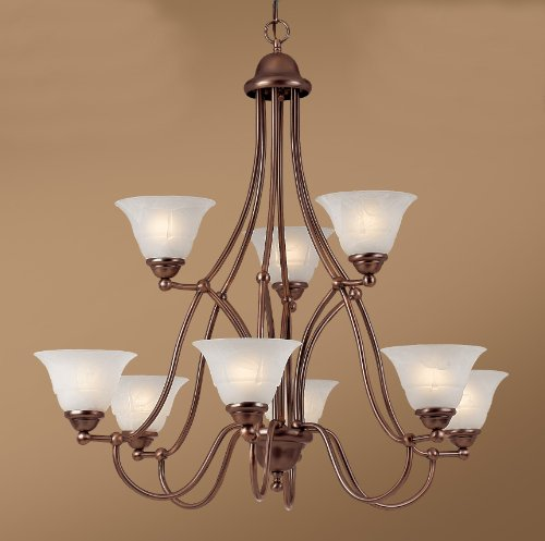 Providence 9 Light Chandelier Glass Color: White Alabaster, Finish: Rustic Bronze