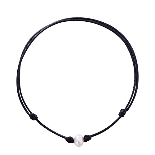 Jane Stone Fashion White Pearl Choker Necklace Freshwater Cultured 10-11mm with Adjustable Black Leather Cord for Women (11mm Black Freshwater Pearl Necklace)