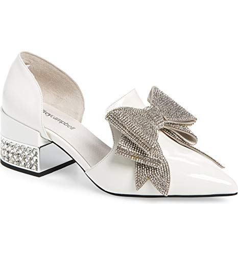 Jeffery Campbell Valenti White Silver Patent Bow Metallic Heel Loafer (10)