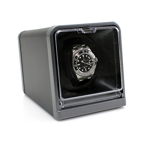 [On Sale] Versa Solo Single Watch Winder for Automatic Watches :: with Japanese Mabuchi Motor :: Multiple Turns Per Day + 3 Direction Settings :: Comes with Power Adapter + Instruction Manual, Black (Hamilton Model Kit)