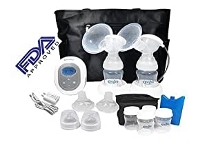 Megna Double Electric Breast Pump: Portable Dual Digital Breast Feeding Pump w/ Easy To Read LCD Display. FDA Approved, BPA Free